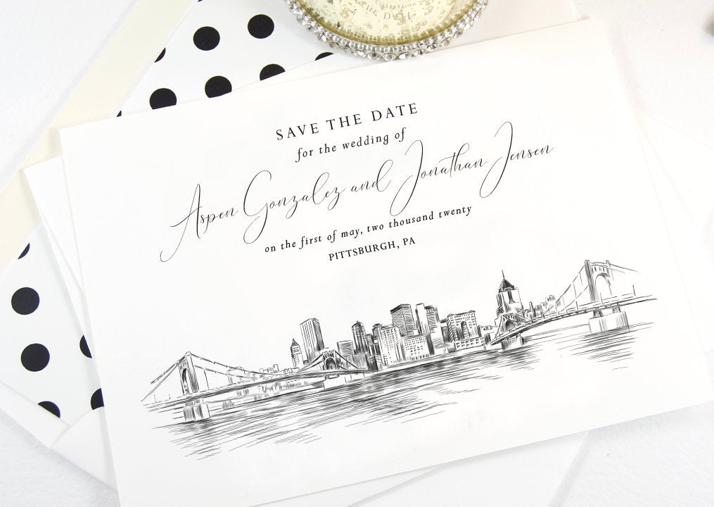 Pittsburgh Skyline Save the Dates, Save the Date Cards, STD, Pittsburgh Wedding, Hand Drawn (set of 25 cards)
