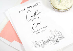 Charlotte, NC Skyline Wedding Save the Dates, Save the Date Cards, STD, Charlotte Wedding, North Carolina  (set of 25 cards and envelopes)