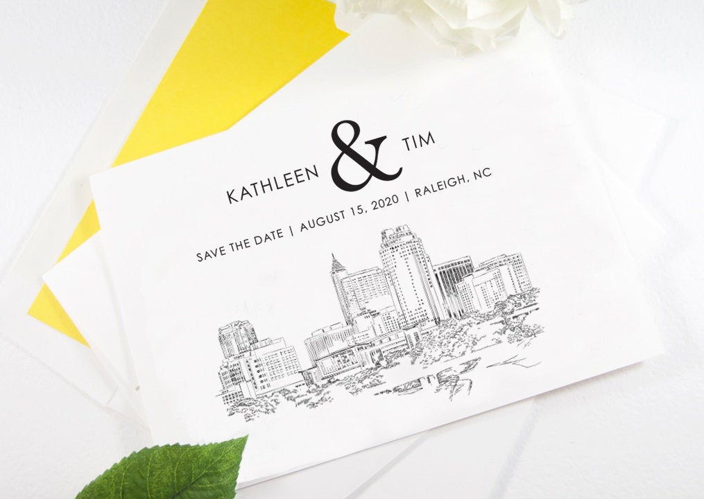 Raleigh Skyline Save the Dates, Save the Date Cards, STD, Raleigh Wedding, North Carolina (set of 25 cards)
