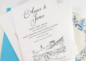 Cleveland Skyline Save the Dates, STD, Cleveland Wedding, Save the Date Cards, Ohio Weddings (set of 25 cards)