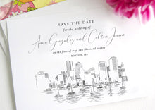 Load image into Gallery viewer, Boston Skyline Save the Dates, Save the Date Cards, STD, Wedding Save the Date (set of 25 cards)