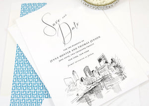 New York Save the Dates, Central Park Skyline Save the Date, NYC Save the Date Cards, NY Save the Dates, STD (set of 25 cards and envelopes)