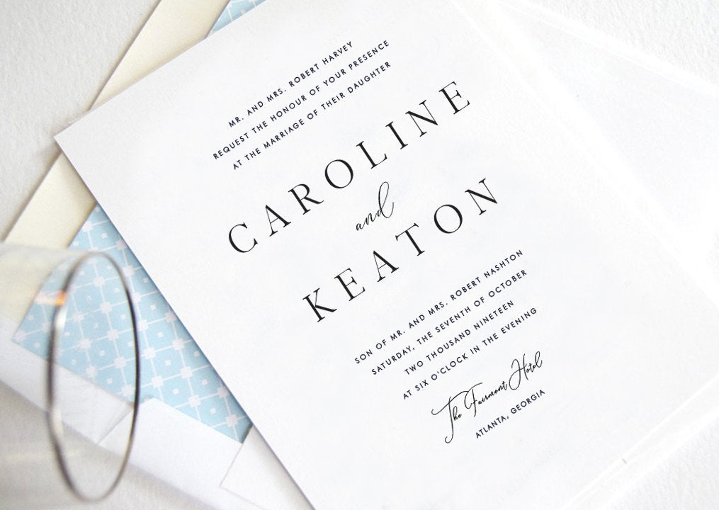 Caroline Wedding Invitations, Typography, Modern Wedding Invitations, Sophisticated Invite (Sold in Sets of 25 Invitations + Envelopes)
