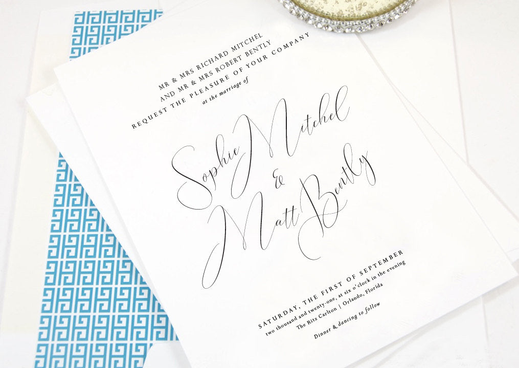 Sophie Wedding Invitations, Typography, Modern Wedding Invitations, Sophisticated Invite (Sold in Sets of 25 Invitations + Envelopes)