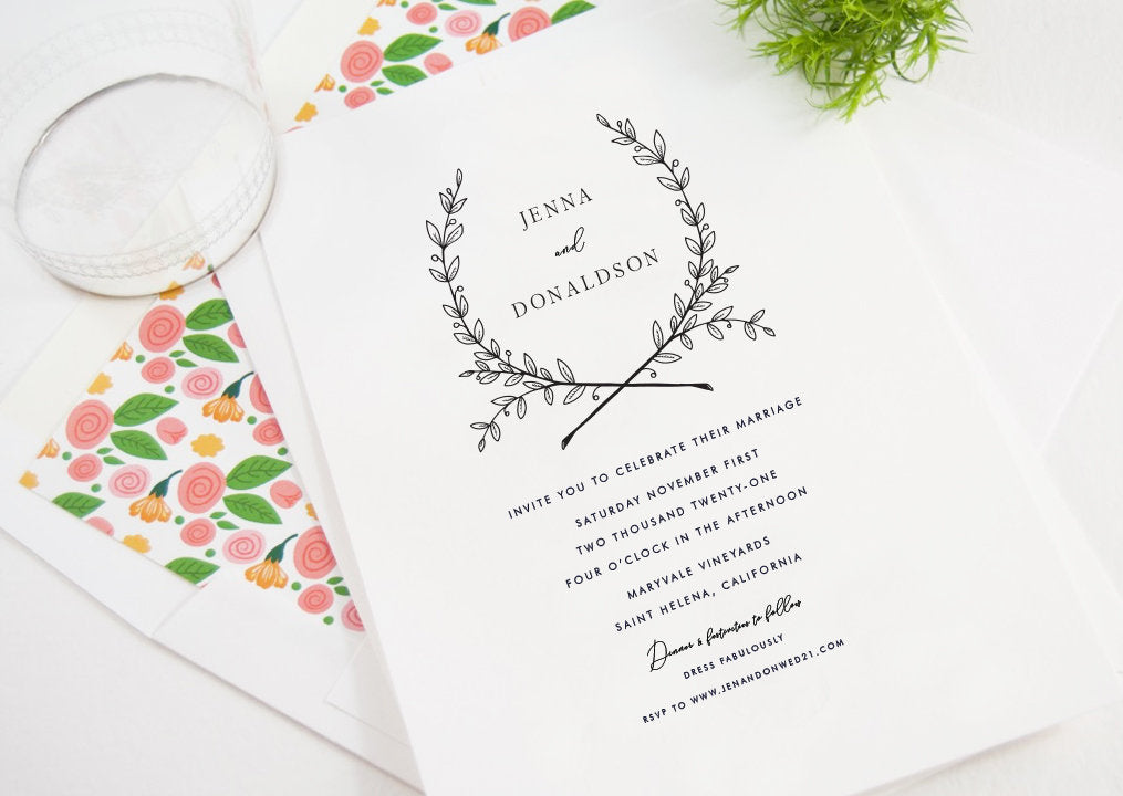 Jenna Wedding Invitations, Typography, Modern Wedding Invitations, Sophisticated Invite (Sold in Sets of 25 Invitations + Envelopes)