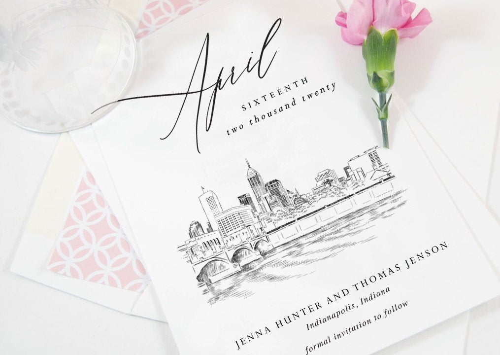Indianapolis Save the Dates, Indianapolis Skyline, Save the Date Cards, STD, Indianapolis Wedding, Weddings, Indiana  (set of 25)