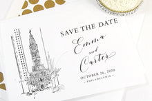 Load image into Gallery viewer, Philadelphia City Hall Save the Dates, Save the Date Cards, STD, Wedding Save the Date (set of 25 cards)