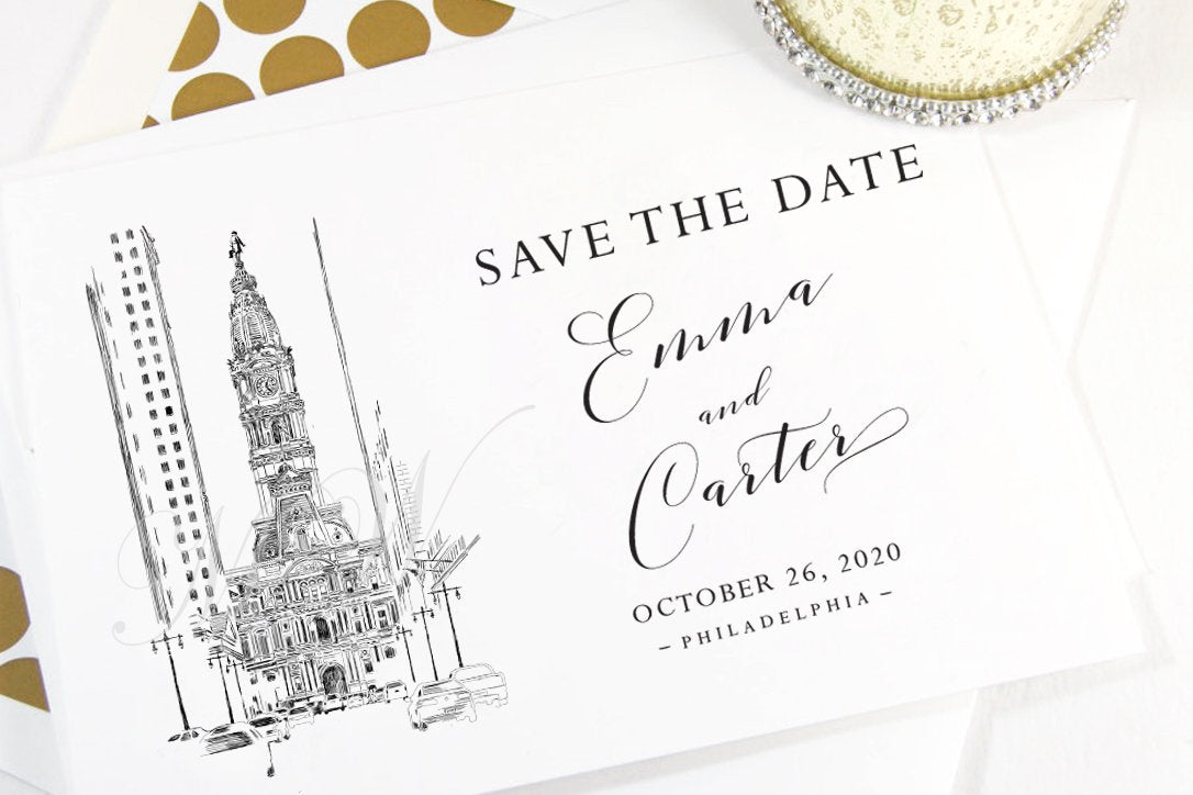 Philadelphia City Hall Save the Dates, Save the Date Cards, STD, Wedding Save the Date (set of 25 cards)