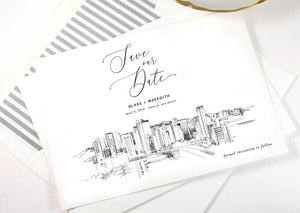 Santa Fe Skyline Save the Dates, Save the Date Cards, STD, New Mexico, Santa Fe Wedding, Weddings (set of 25 cards)