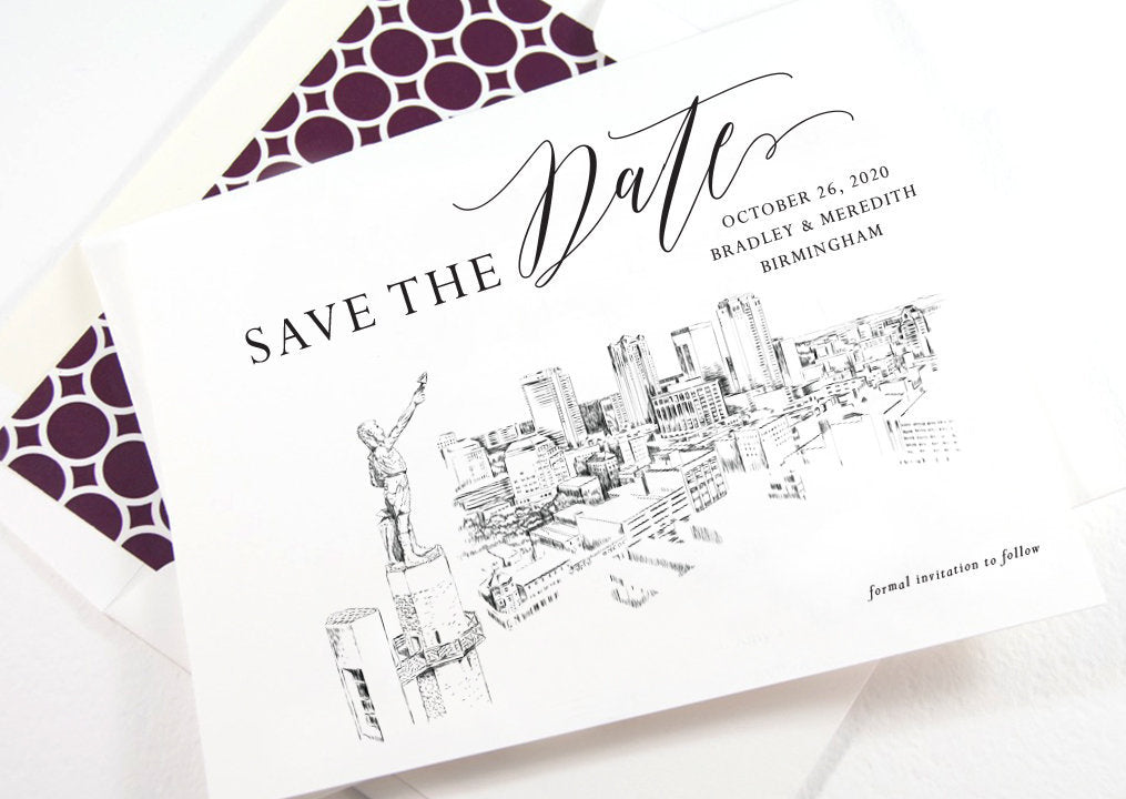 Birmingham Skyline Save the Dates, STD, Save the Date Cards, Birmingham Wedding, Alabama Skyline (set of 25 cards)
