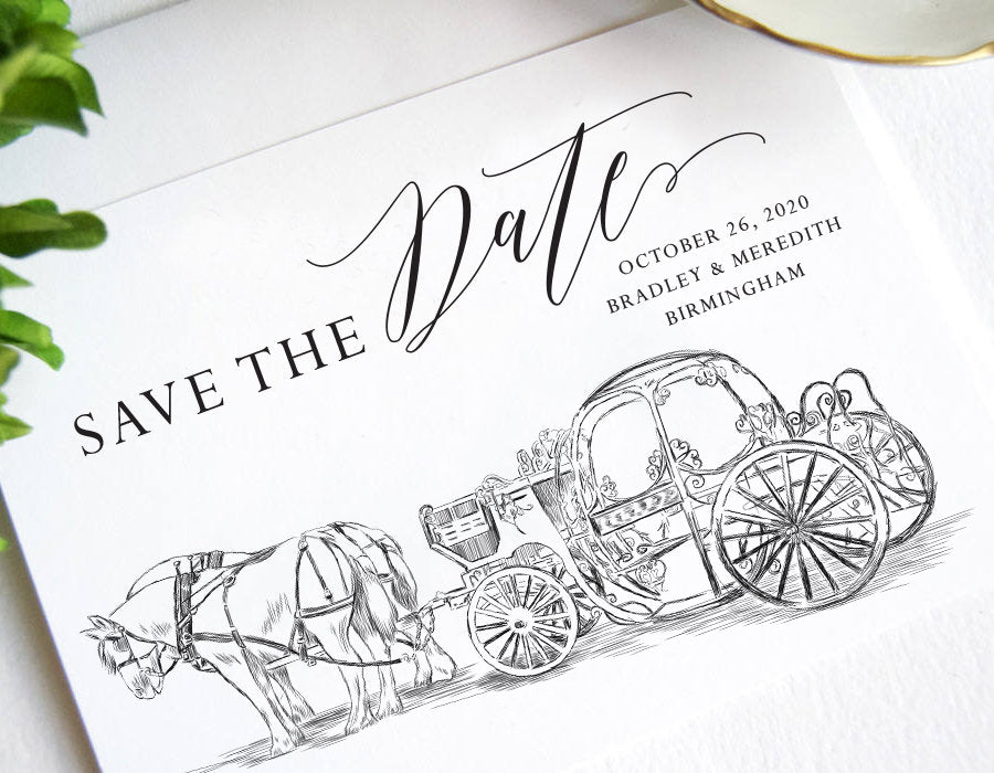 Cinderella's Carriage Save the Dates, Save the Date, Fairytale Wedding, Disney theme Save the Date Cards, STD (set of 25 cards & envelopes)