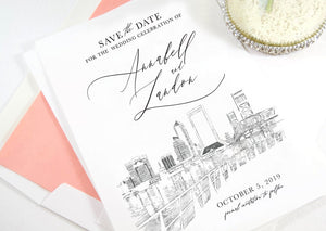 Jacksonville Skyline Save the Date Cards, Save the Dates, STD, Wedding, Jacksonville Wedding, Florida (set of 25 cards)