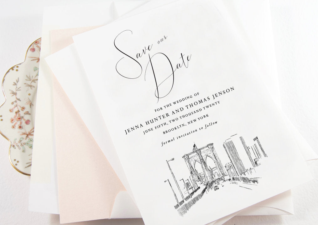 Brooklyn Skyline Save the Dates, STD, Save the Date Cards, New York, NY Wedding (set of 25 cards)