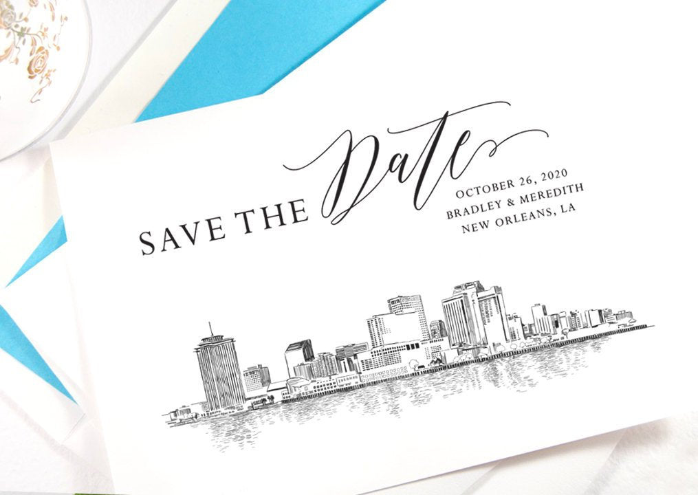 New Orleans Skyline Save the Dates, Save the Date Cards, STD, New Orleans Wedding, Wedding Save the Date (set of 25 cards)