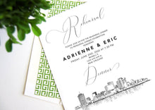 Load image into Gallery viewer, New Orleans Skyline Rehearsal Dinner Invitations, Wedding, New Orleans Weddings, Rehearse (set of 25 cards)