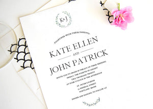 Kate Wedding Invitations, Typography, Modern Wedding Invitations, Sophisticated Invite (Sold in Sets of 25 Invitations + Envelopes)