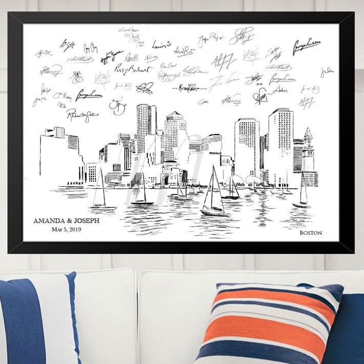 Boston Skyline Wedding Alternative Guest Book, Wedding Skyline, Guestbook, Wedding Guestbook, Party Supplies, Bridal Shower, Boston MA