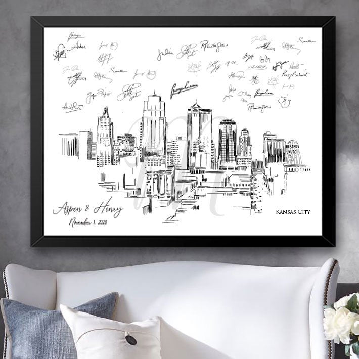 Kansas City Skyline  Wedding, Alternative Guest Book, Wedding Skyline, Guestbook, Wedding Guestbook, Party Supplies and Decor, Bridal Shower