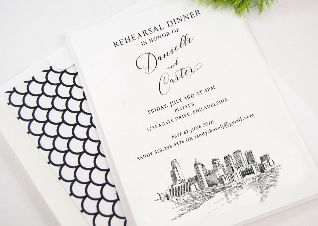 Philadelphia Wedding Rehearsal Dinner Invitations, Rehearsal Cards, Rehearse, Philadelphia Weddings (set of 25)
