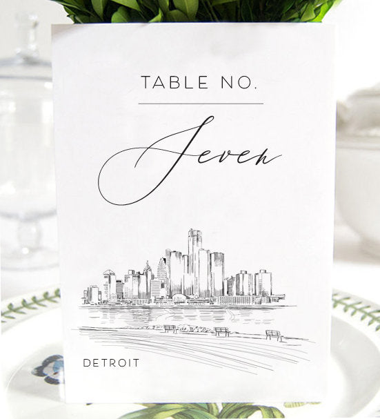 Detroit Wedding Table Numbers (1-10), Detroit Wedding, Michigan