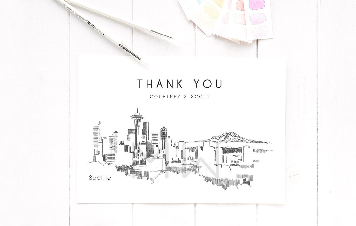 Seattle Skyline Thank You Cards, Personal Note Cards, Bridal Shower Thank you Card Set, Corporate Thank you Cards (set of 25 cards)