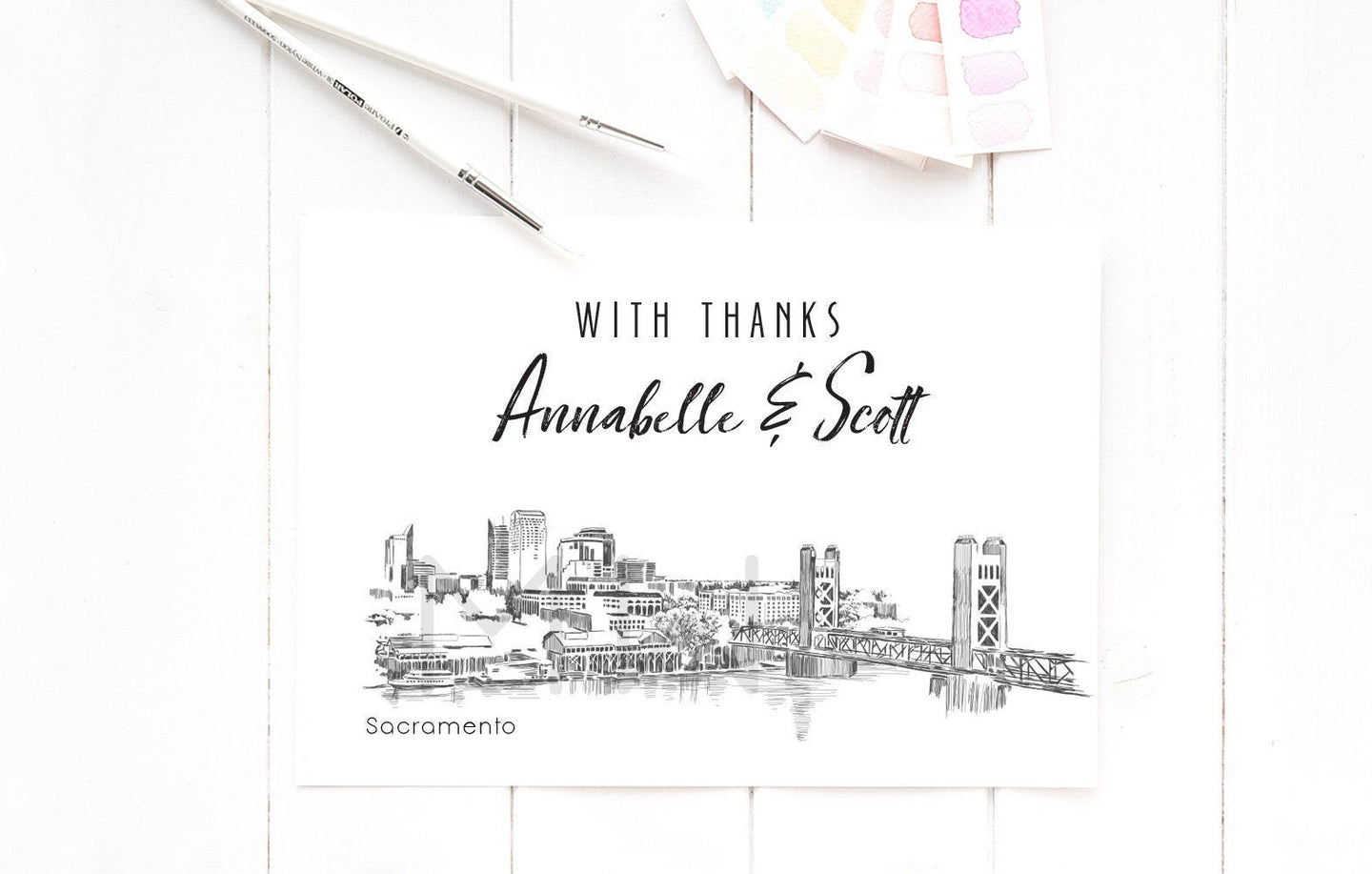 Sacramento Skyline Thank You Cards, Personal Note Cards, Bridal Shower Thank you Card Set, Corporate Thank you Cards (set of 25 cards)