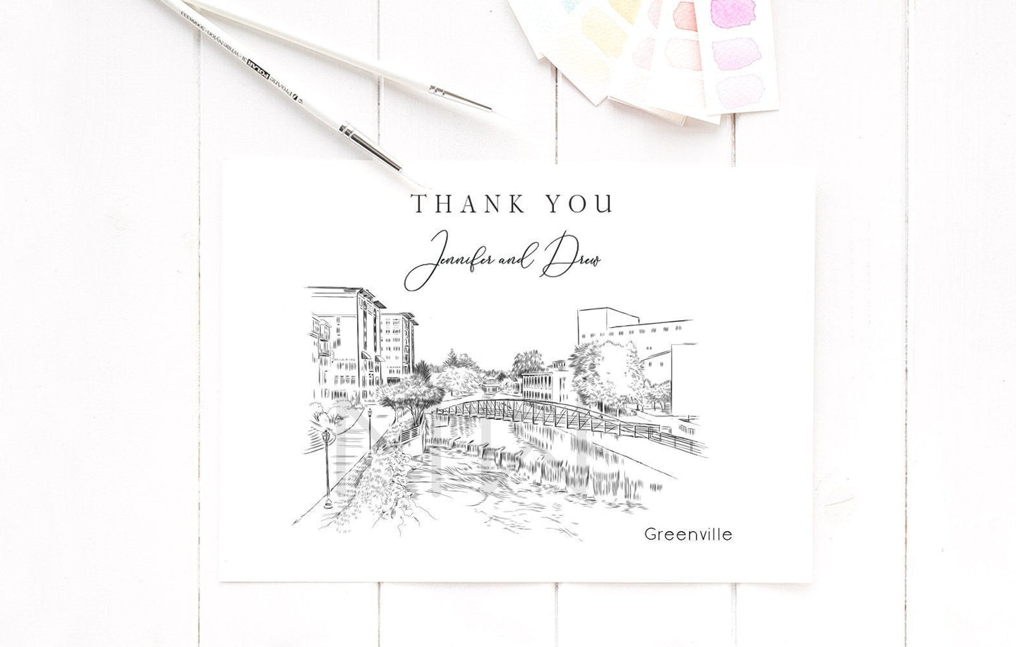 Greenville Skyline Thank You Cards, Personal Note Cards, Bridal Shower Thank you Card Set, Corporate Thank you Cards (set of 25 cards)