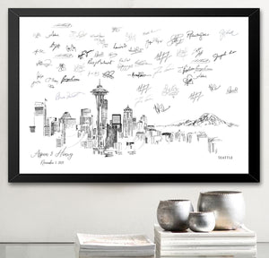 Seattle Wedding, Alternative Guest Book, Wedding Skyline, Guestbook, Wedding Guestbook, Party Supplies and Decor, Washington
