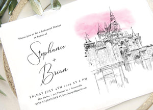 Disneyland Fairytale Rehearsal Dinner Invitations, Sleeping Beauty Castle, Wedding, Invitation Cards (set of 25 cards)
