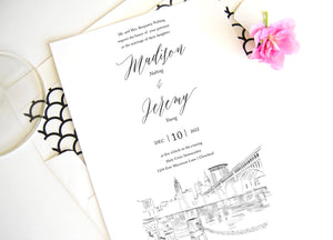 Cleveland Skyline Wedding Invitation, Ohio Wedding, Cleveland Skyline Invite (Sold in Sets of 10 Invitations + Envelopes)