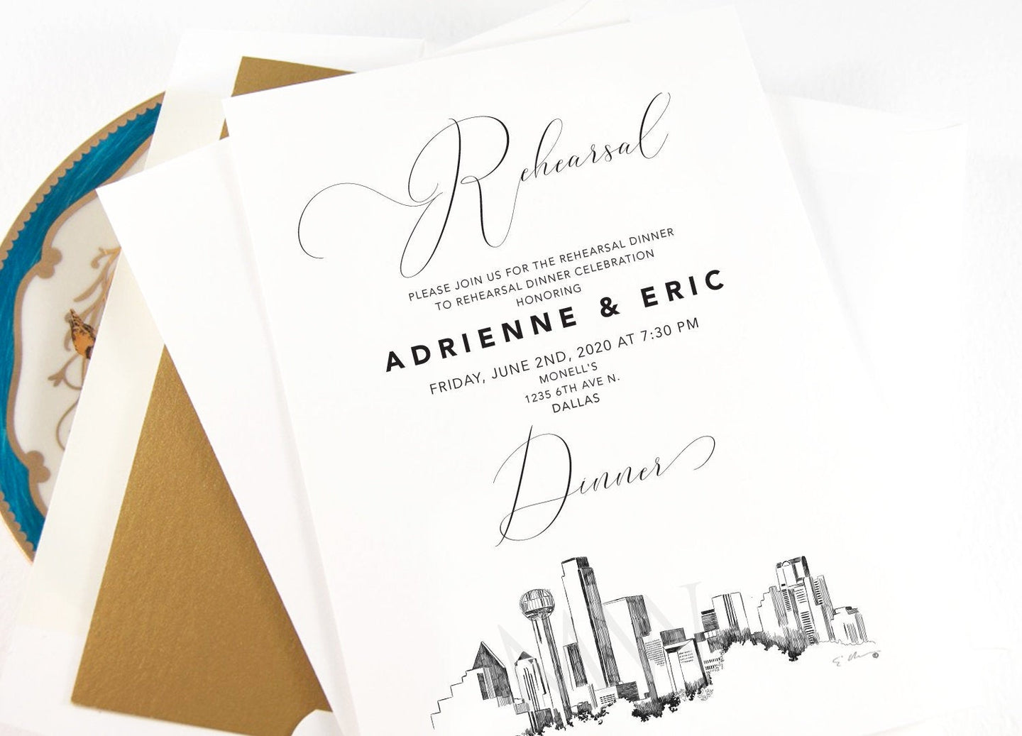 Dallas Rehearsal Dinner Invitations, Dallas Skyline, Wedding, Texas, Weddings, Rehearse, Wedding Invite (set of 25 cards)
