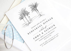 Palm Trees Rehearsal Dinner Invitations, Hawaiian Theme, Wedding, Tropical, Weddings, Rehearse, Wedding Invite (set of 25 cards)