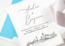 Load image into Gallery viewer, Dallas Rehearsal Dinner Invitations, Texas Skyline, Dallas Wedding, Weddings, Rehearse, Wedding Invite (set of 25 cards)