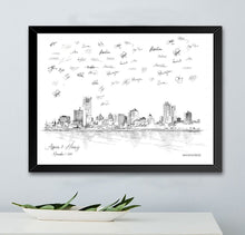 Load image into Gallery viewer, Milwaukee Wedding, Alternative Guest Book, Wedding Skyline, Guestbook, Wedding Guestbook, Milwaukee, WI, Milwaukee Skyline, Wedding