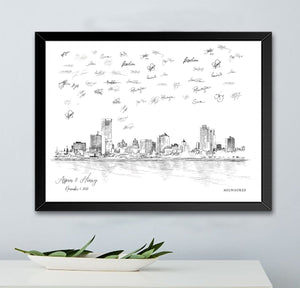Milwaukee Wedding, Alternative Guest Book, Wedding Skyline, Guestbook, Wedding Guestbook, Milwaukee, WI, Milwaukee Skyline, Wedding