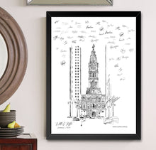 Load image into Gallery viewer, Philadelphia City Hall Alternative Guest Book, Wedding Skyline, Guestbook, Wedding Guestbook, Philadelphia, PA, Philadelphia Skyline