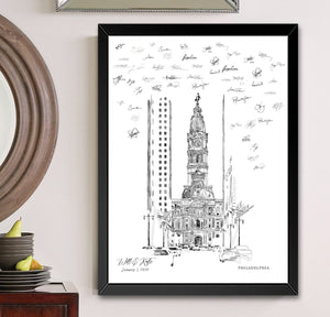 Philadelphia City Hall Alternative Guest Book, Wedding Skyline, Guestbook, Wedding Guestbook, Philadelphia, PA, Philadelphia Skyline
