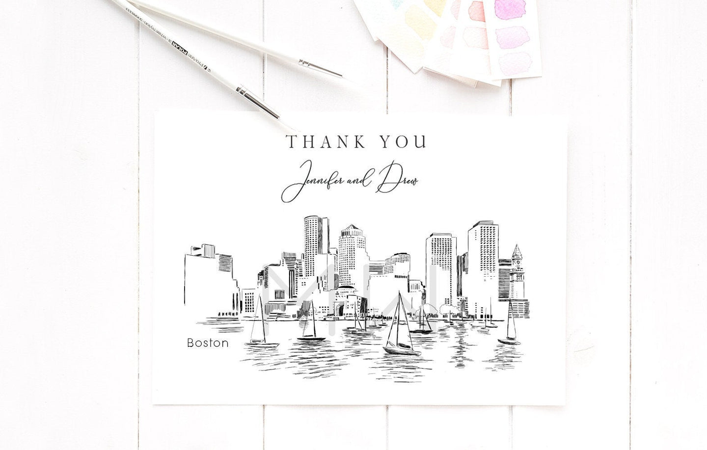 Boston Skyline Thank You Cards, Personal Note Cards, Bridal Shower Thank you Card Set, Corporate Thank you Cards (set of 25 cards)