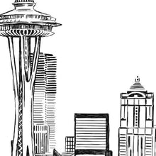 Load image into Gallery viewer, Seattle Wedding, Alternative Guest Book, Wedding Skyline, Guestbook, Wedding Guestbook, Party Supplies and Decor, Washington
