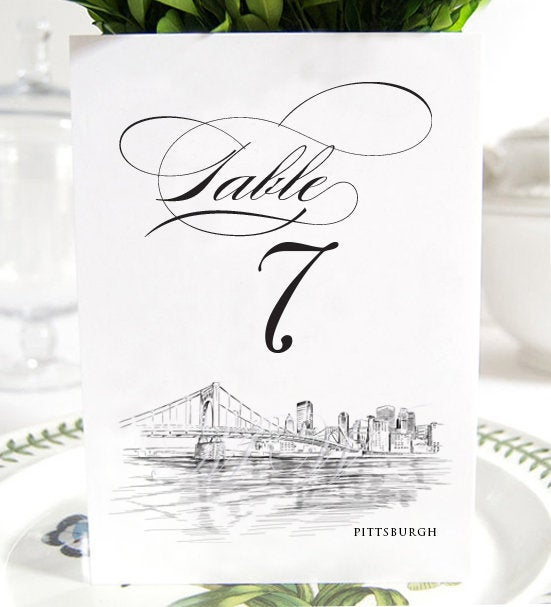 Pittsburgh Skyline Table Numbers (1-10), Pittsburgh Wedding