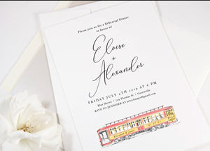 Trolley Car Rehearsal Dinner Invitations, Wedding, New Orleans Wedding, Rehearse Invite, Invitations (set of 25 cards)