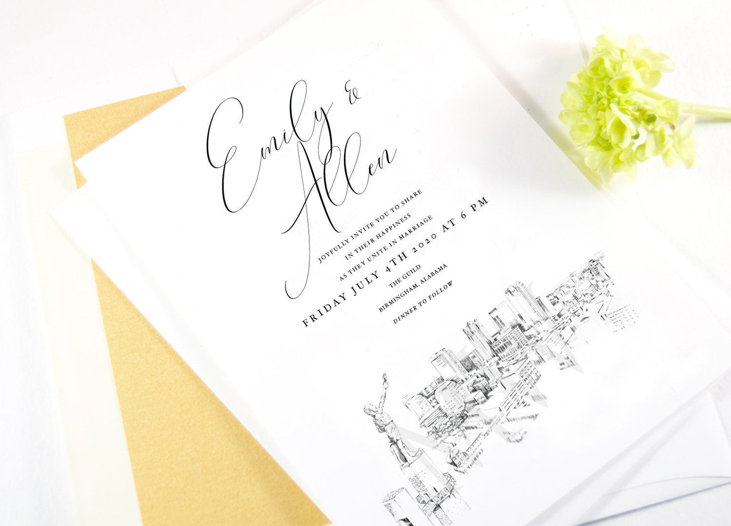 Birmingham Skyline Wedding Invitation, Alabama Wedding, Birmingham Skyline Invite, Vulcan  (Sold in Sets of 10 Invitations + Envelopes)