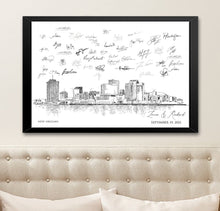 Load image into Gallery viewer, New Orleans Wedding, Alternative Guest Book, New Orleans Wedding, Skyline, Wedding Guestbook, Party Supplies, Bridal Shower