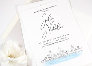 Milwaukee Rehearsal Dinner Invitations, Milwaukee Skyline, Wedding, Wisconsin, Weddings, Rehearse, Wedding Invite (set of 25 cards)