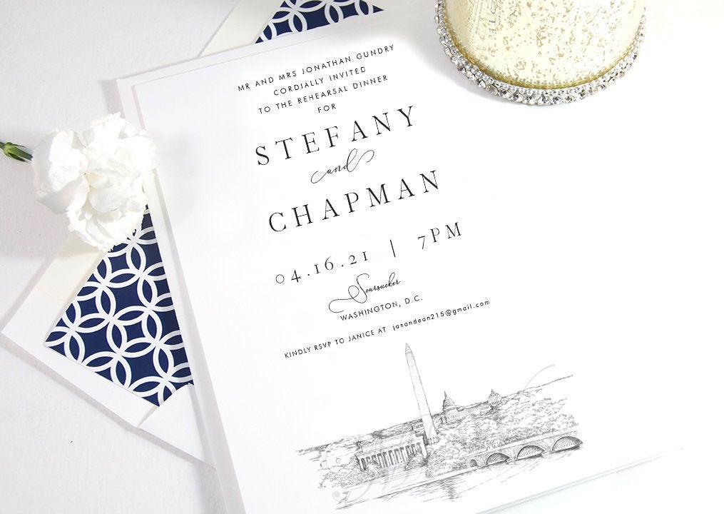 Washington DC Memorials Rehearsal Dinner Invitations, DC Skyline, DC Wedding, Weddings, Rehearse, Invite (set of 25 cards)
