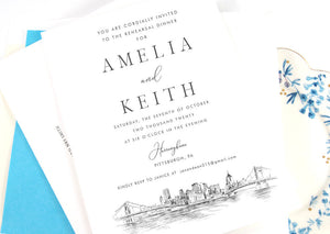Pittsburgh Skyline Rehearsal Dinner Invitations, Pittsburgh, PA,  Skyline, Wedding, Weddings, Rehearse, Wedding Invite, Card (set of 25)