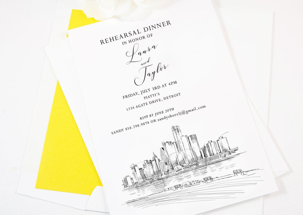 Detroit Rehearsal Dinner Invitations, Detroit Skyline, Michigan Wedding, Weddings, Rehearse, Invite (set of 25 cards)