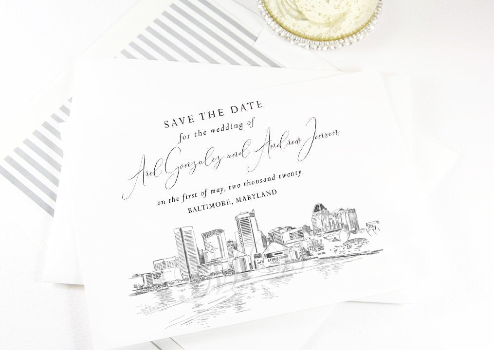 Baltimore Save the Dates, STD, Baltimore, MD,  Wedding, Baltimore Skyline, Save the Date Cards, STD Cards, Wedding (set of 25 cards)