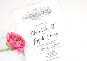 Houston Skyline Wedding Invitation, Texas, Wedding, Houston, TX, Invite, Houston Wedding,  (Sold in Sets of 10 Invitations + Envelopes)