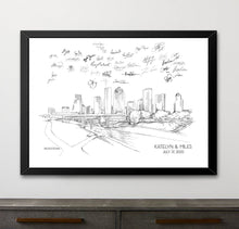 Load image into Gallery viewer, Houston Wedding Alternative Guest Book, Houston Skyline, Guestbook, Wedding Guestbook, Houston, TX,  Houston Wedding, Texas